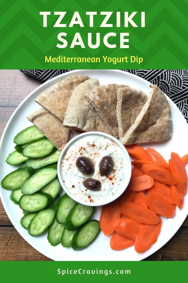 An easy recipe for Tzatziki sauce, using greek yogurt. Served with pita bread and sliced cucumbers and carrots
