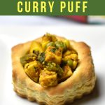 Golden Flaky Puff pastry shells stuffed with Indian Spiced vegetable filling