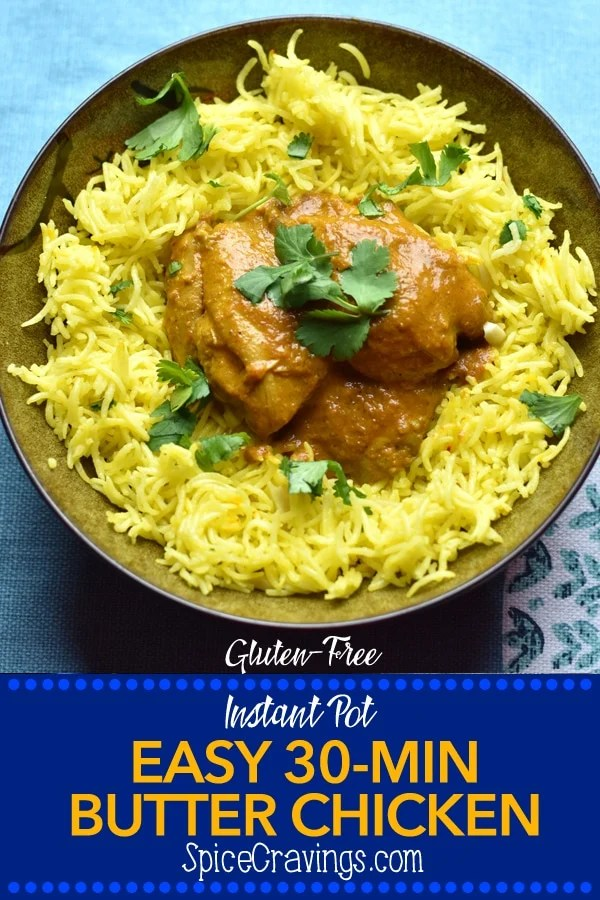 Indian Butter Chicken served with aromatic saffron Rice