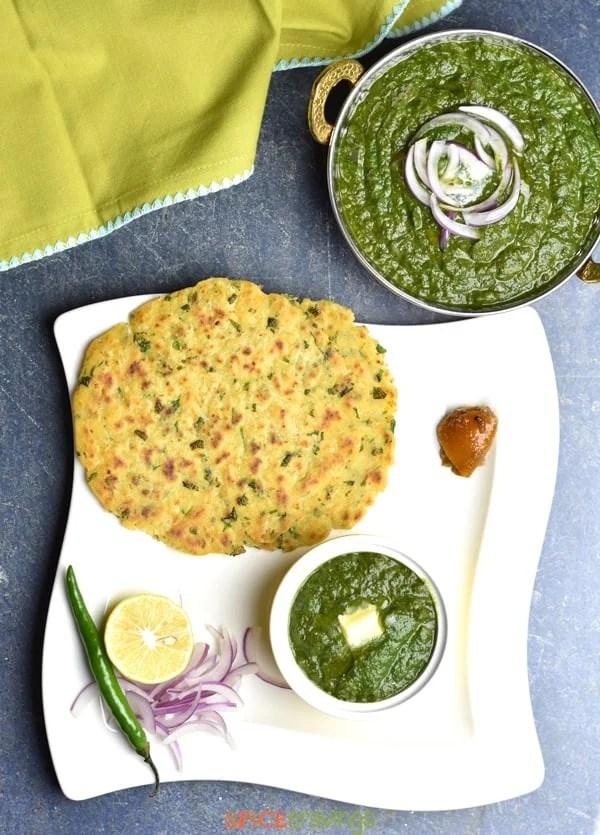 Top shot of Makki Ki Roti served with Sarson ka Saag