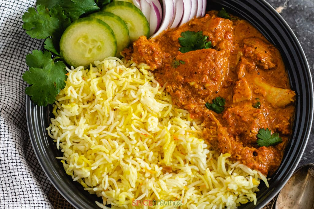 "Instant Pot Easy Butter Chicken with Saffron Rice by Spice Cravings. Tender and juicy chicken, cooked in a creamy-buttery tomato sauce, served with Saffron flavored Basmati Rice! This 'Easy Butter Chicken' is a quick & easy ""weeknight"" recipe. I simplified the butter chicken recipe, cut down cooking time, and still retained that amazing delicious flavor. #cooking #food #recipe #recipes #foodphotography #foodblogger #yummy #delicious #foodie"