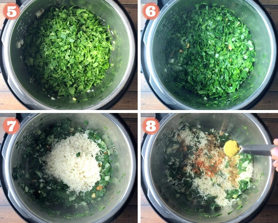 Step by step process of Spinach Rice in pressure cooker