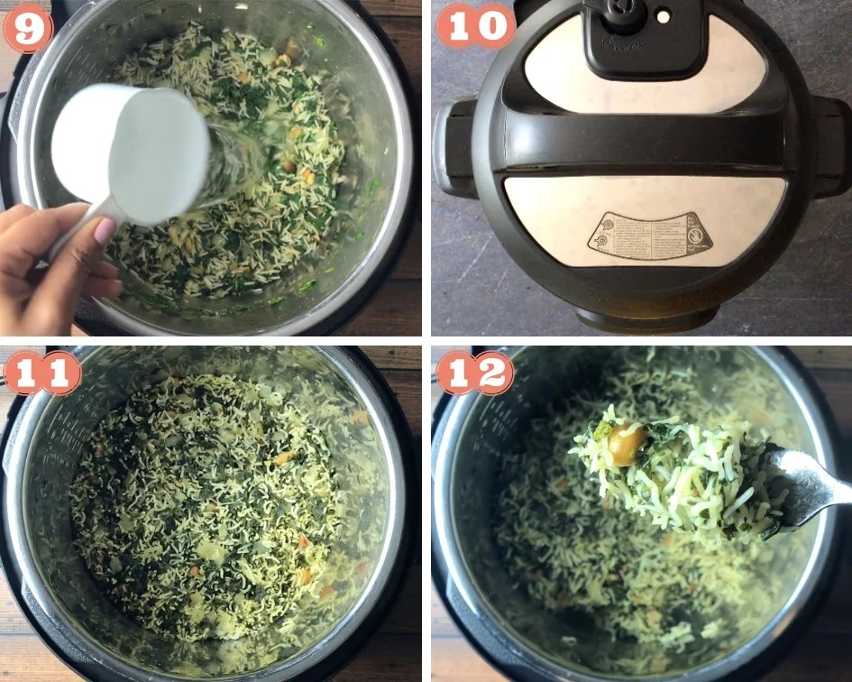 Step by step photos showing how to make Spinach Rice in Instant Pot