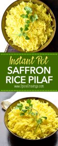 Saffron Rice Pilaf or pulao by Spice Cravings. Aromatic and nutty basmati rice cooked in a Saffron infused broth. This easy and popular side compliments so many dishes from around the world. #cooking #food #recipe #recipes #foodphotography #foodblogger #yummy #delicious #foodie