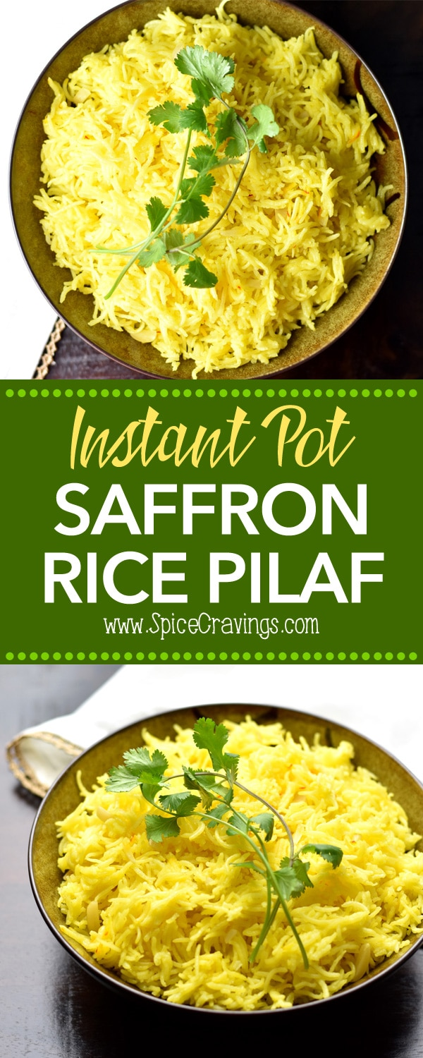 Saffron Rice Pilaf or pulao by Spice Cravings. Aromatic and nutty basmati rice cooked in aSaffron infused broth. This easy and popular side compliments so many dishes from around the world. #cooking #food #recipe #recipes #foodphotography #foodblogger #yummy #delicious #foodie