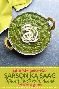 Pinterest image for Sarson ka Saag, Indian Spiced Mustard Greens