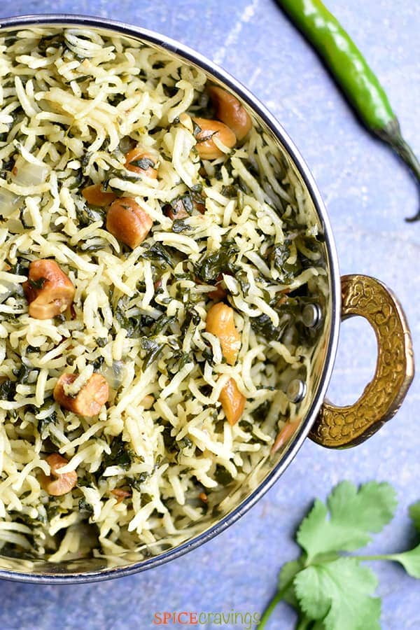 Basmati rice with spinach and cashews