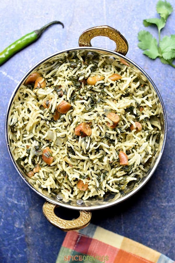 Indian spinach rice with cashews