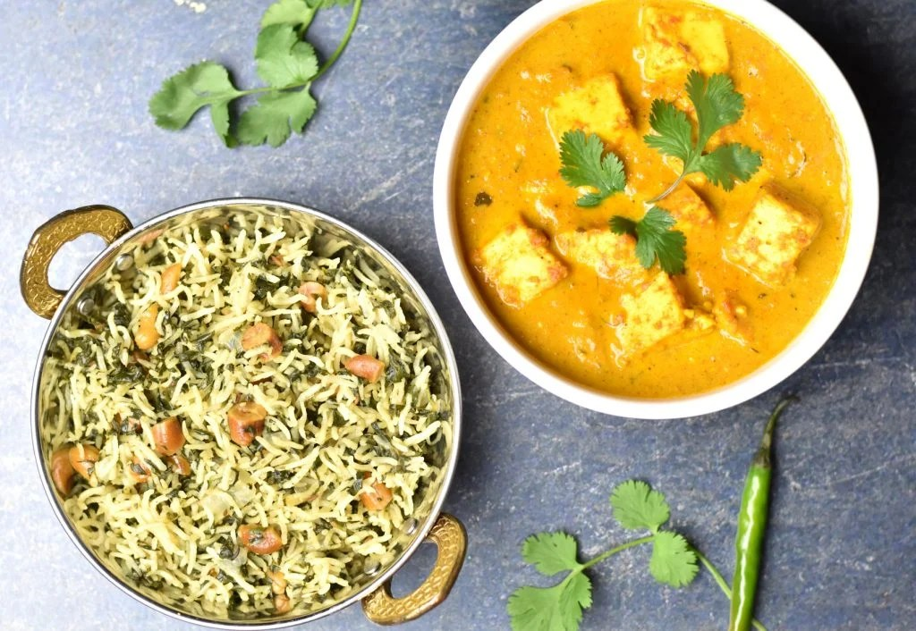 Spinach rice with Instant pot paneer butter masala