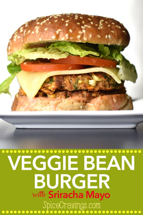 A delicious veggie bean burger, with a golden brown bean-patty, sandwiched between two warm, butter-toasted buns, the fresh crunch of lettuce and tomato, a slice of spicy pepper-jack, smothered in a sweet and spicy Sriracha-mayo sauce. #Spicecravings #bbq #grill #vegetarian #beans #burger #sriracha #foodie #recipe #foodphotography #foodblogger #yummy #delicious