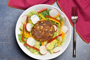 Veggie Bean Burger salad, garam masala kitchen