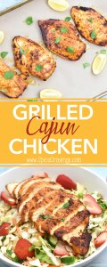Grilled Cajun Chicken Salad, with chicken marinated in olive oil, Cajun seasoning, salt and juice of lime. Instructions for oven, grill, and instant pot. By Spice Cravings. #cooking #food #recipe #recipes #foodphotography #foodblogger #yummy #delicious #foodie