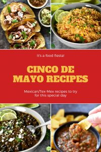 A collection of cinco de mayo recipes including carnitas, guacamole, salsa, mexican rice, beans and more