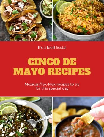 A collection of cinco de mayo recipes including carnitas, guacamole, salsa, mexican rice, beans and more