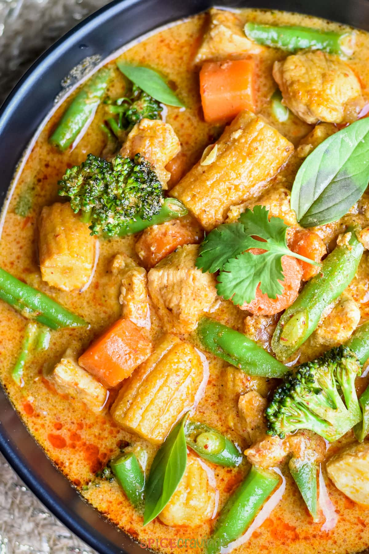 A bowl of thai Massaman Curry made with chicken and assorted vegetables including snow peas, carrots, broccoli and baby corn