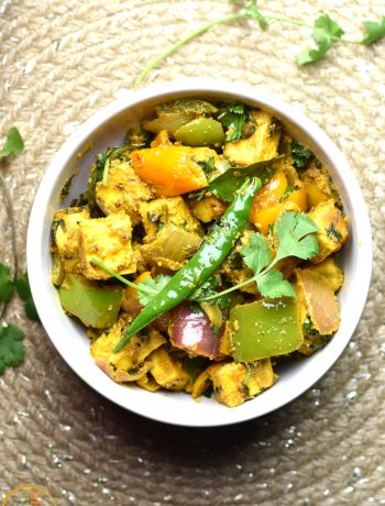 A bowl of 15-Minute Kadai paneer, made in Instant Pot