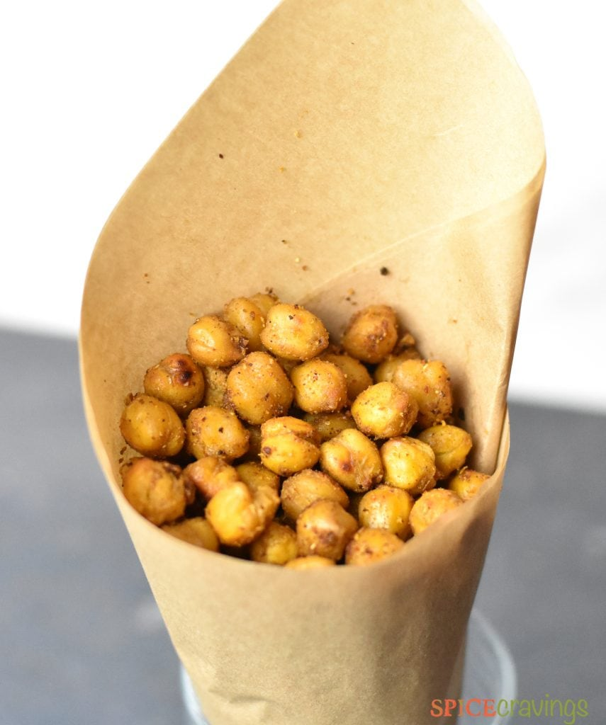 Indian Spice rubbed oven roasted chickpeas in a cone