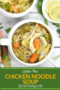Pinterest image for Instant Pot Chicken Noodle Soup (Gluten Free)