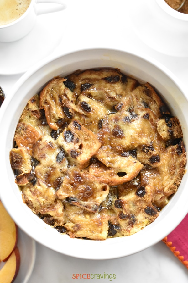 Close up shot of Cinnamon Raisin French Toast Casserole