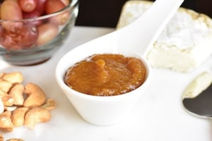 Side view of peach ginger chutney made in instant pot