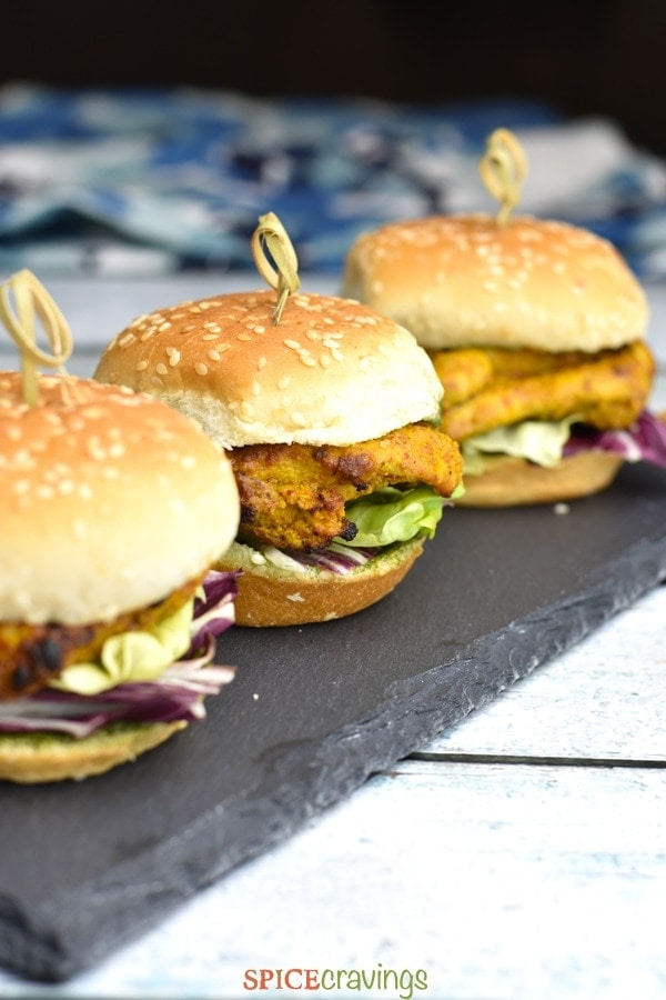 Tandoori Chicken Sliders on a slate tray