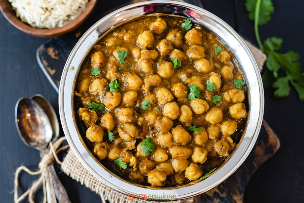 Chana Masala made in Instant pot served with brown rice and onions