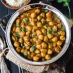 instant pot chana masala served with rice and pickled onions