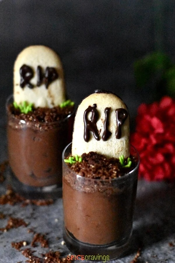 Chocolate Mousse Graveyard is the perfect dessert for halloween