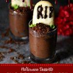 Chocolate Mousse graveyard dessert to celebrate Halloween