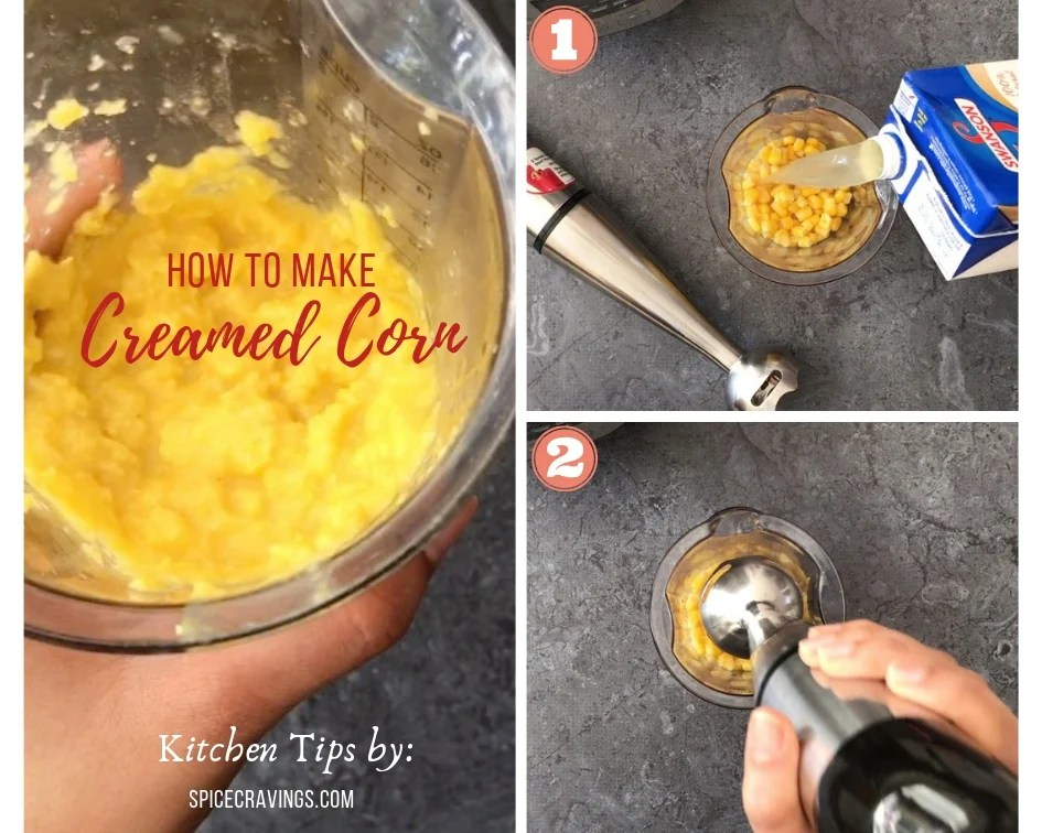 Blending corn with chicken stock to make homemade creamed corn