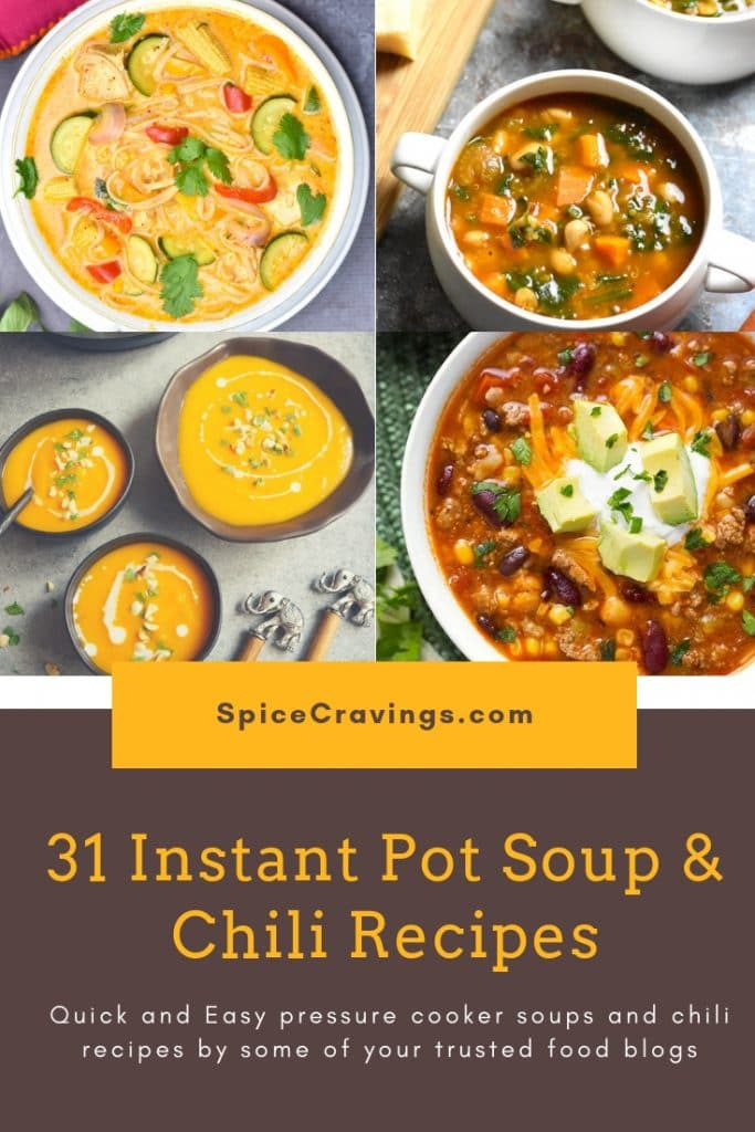 Pinterest image for 31 best soups and chili recipes in Instant Pot