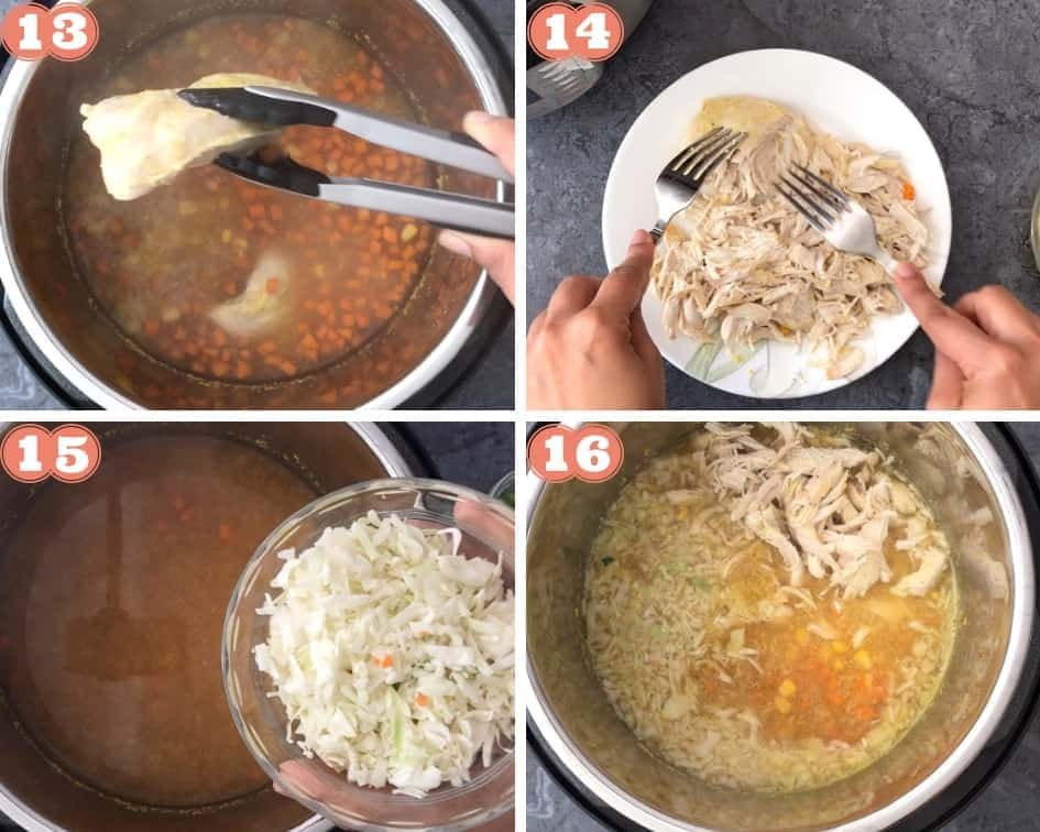 Shred chicken, add that and cabbage to pot
