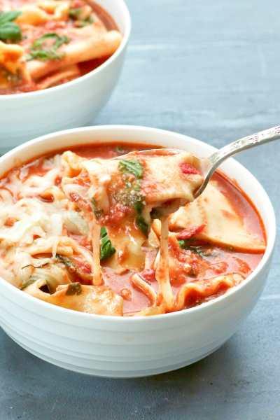 Bowl of Instant pot Lasagna Soup