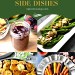 A collection of easy to make side dishes including cranberry sauce, potatoes, carrots and green beans