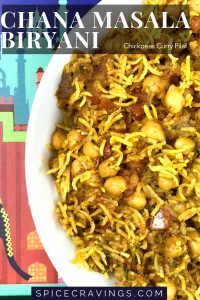 An Indian spiced Chickpeas and rice pilaf served in a white bowl