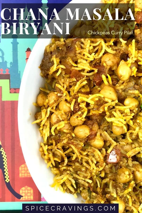 Chana Masala Biryani, chickpeas curry pilaf on a indian motif tray