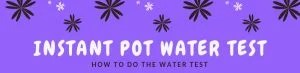 A step by step guide on how to do the water test in an Instant Pot