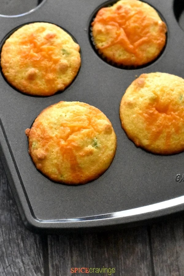 A baking tray with Jalapeno Cheddar Cornbread