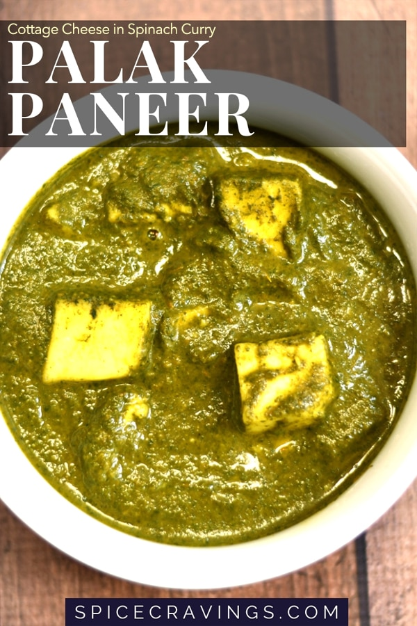 Instant Pot Palak paneer served in a white ceramic bowl