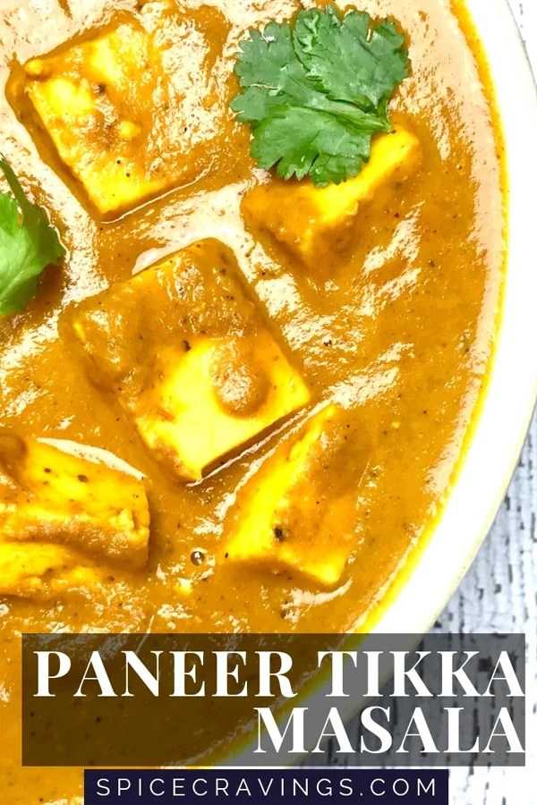 Close up of Paneer Tikka Masala, cottage cheese cubes simmered in a tomato onion curry