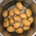 Potatoes placed in the Instant pot for steaming