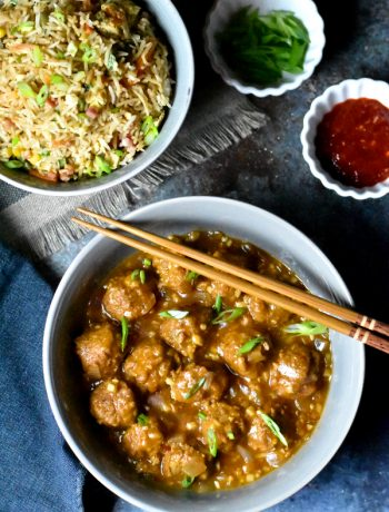 Vegetable Manchurian made in Instant Pot, served with fried rice