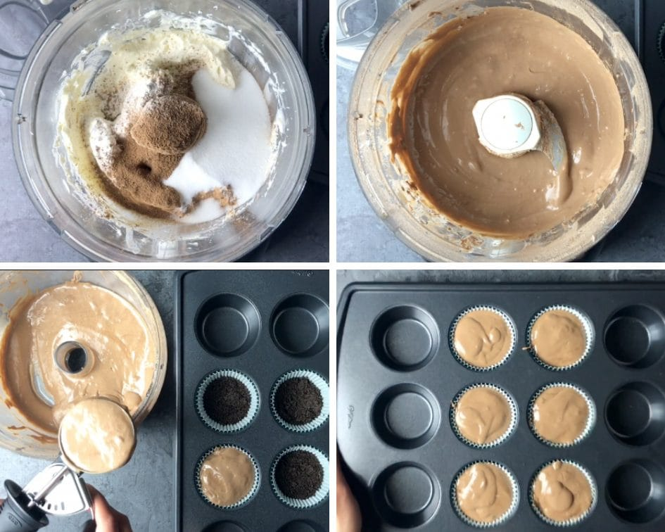 Step by step pictures showing how to make cheesecake filling