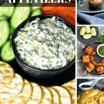 A collection of easy to make appetizers including dips, wings and stuffed mushrooms