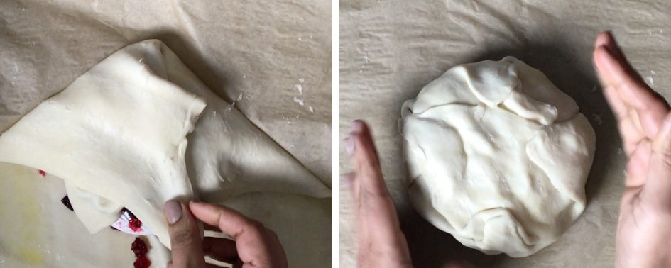 step by step instructions on how to make baked brie in puff pastry