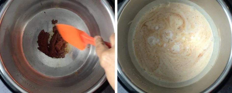 Sauteing red curry paste and coconut milk to make Thai Red Curry in Instant Pot pressure cooker