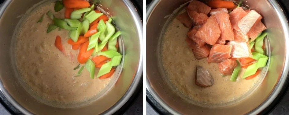 Steps showing how to cook Salmon Thai red curry in Instant Pot pressure cooker