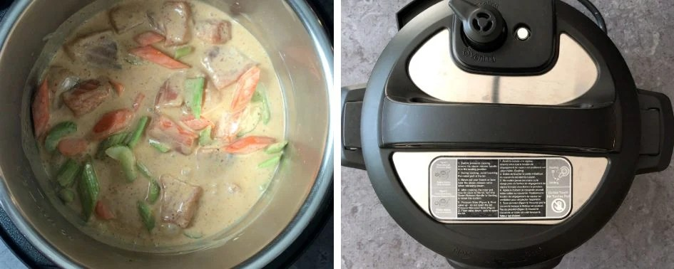 Step by step instructions showing how to make thai red curry in pressure cooker