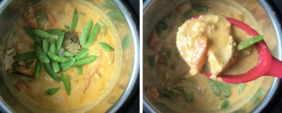 Final step showing how to make thai red curry in Instant Pot pressure cooker