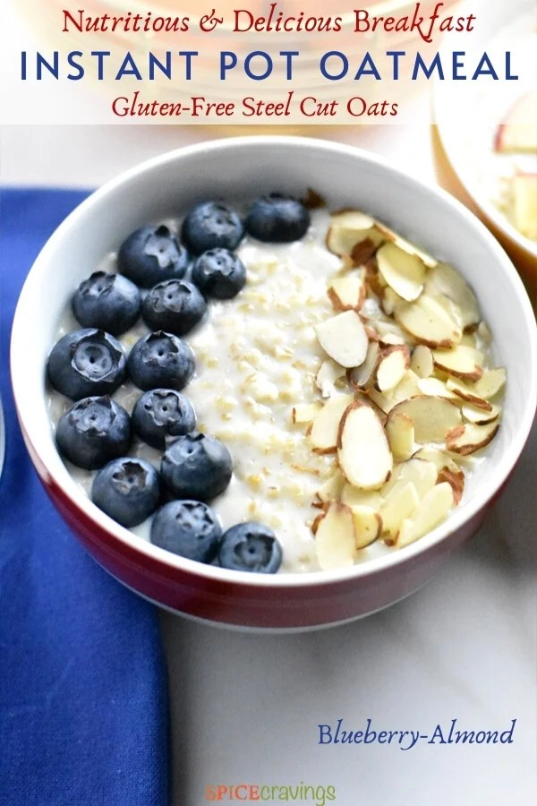Oatmeal topped with blueberries and almonds